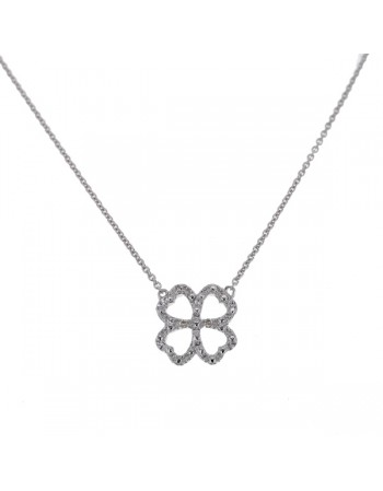 Four-leaf clover diamond necklet in 9 K gold