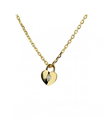 Mini heart diamond necklet in 9 K gold