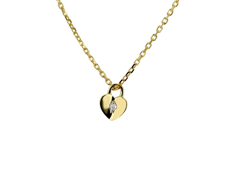 Collier coeur cadenas avec diamants en or jaune