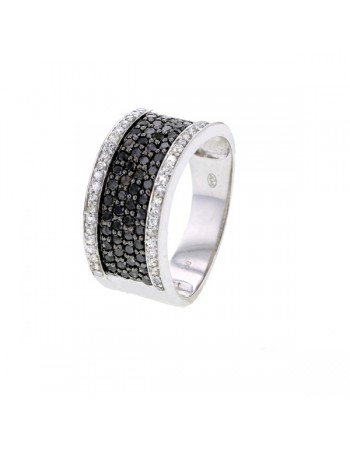 Flat pave set black and white diamonds ring in 18 K gold