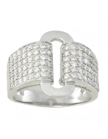 Art deco style pave set diamonds ring in 18 K gold