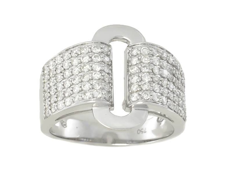 Bague pavé art déco diamants en or blanc