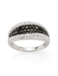Bague pavée diamants noirs et blancs en or blanc