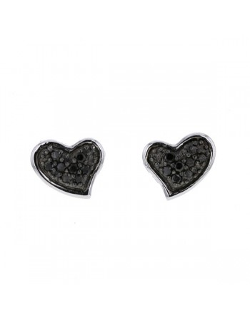 Heart shaped stud earrings with black diamonds in 18 K gold