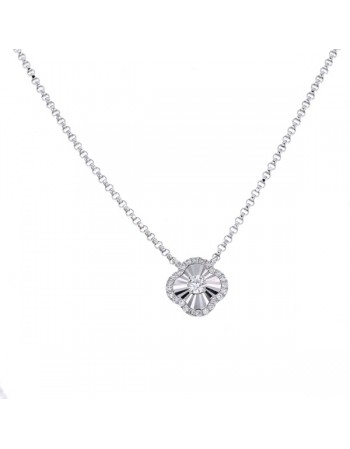 CNC set clover shape diamond necklace in 18 K gold