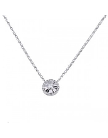 Collier rond diamants sertis cnc en or blanc