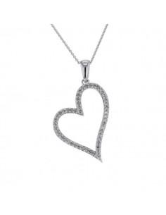Pendentif coeur diamants en argent