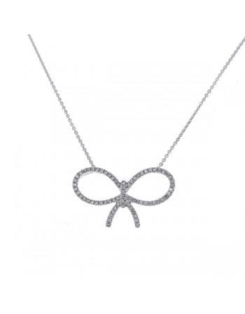 Pave set boxtie knot diamond pendant in 18 K gold