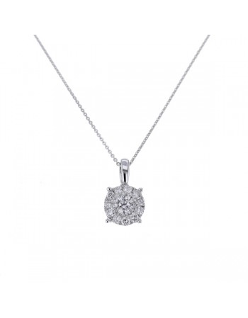 Pendentif solitaire illusion multi-pierres diamants en or blanc