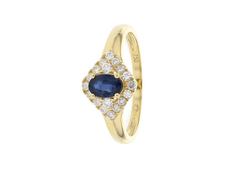 Bague saphir entourage de diamants en or jaune