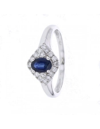 Diamond halo and sided sapphire ring in 18 K gold