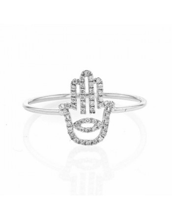 Fatima hand ring pave set in 9 K gold