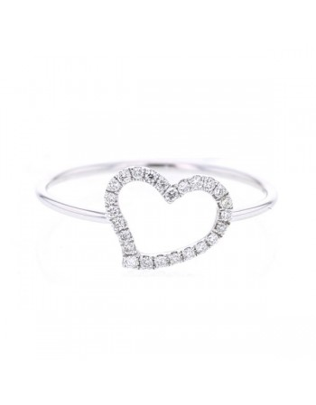 Pave set hearts rings in 9 K gold