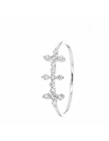 Bague triple croix all style pavé de diamants en or blanc