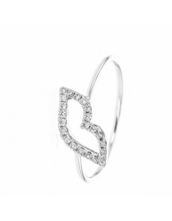 Smart kiss ring pave set in 9 K gold