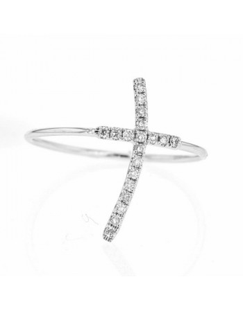 Pave set cross ring in 9 K gold
