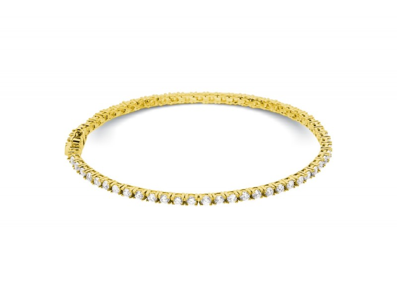 Bracelet riviere de diamants 4 griffes en or jaune