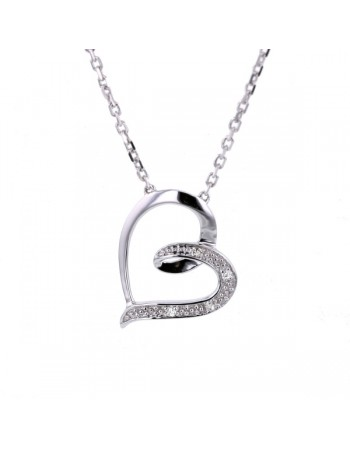 Open heart diamond necklet in 9 K gold