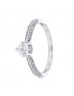Bague de fiançailles solitaires diamants accompagné en or blanc