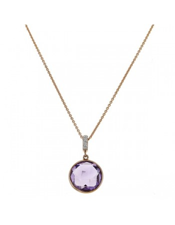 Round amethyst with diamond hook pendant in 9 K gold