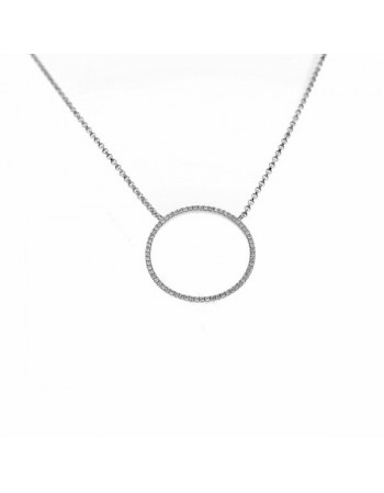 Collier cercle pavé de diamants en or blanc