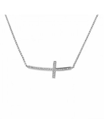 Collier croix de travers pavée de diamants en or blanc