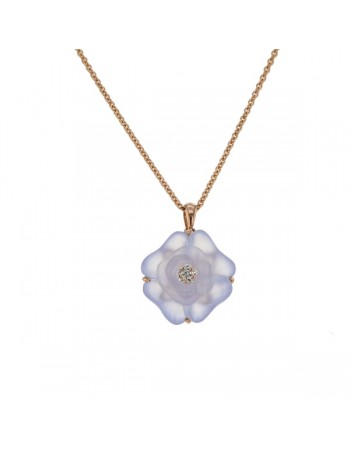 Camelia cut chalcedony and diamonds in 9 K gold