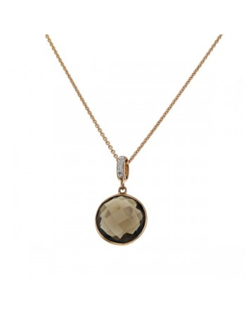 Round smoky quartz with diamond hook pendant in 9 K gold