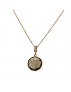 Pendentif quartz fumé rond et diamants en or rose
