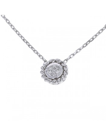 Vintage style round shape multi-stone diamond necklet in 9 K gold