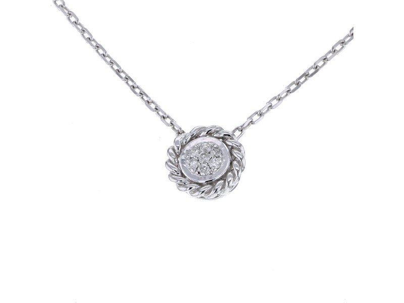 Collier multi-pierres forme rond diamants en or blanc
