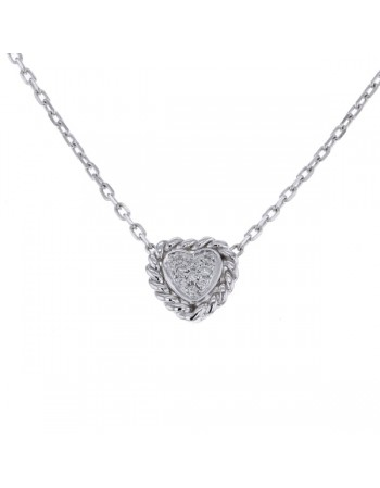 Collier multi-pierres forme coeur diamants en or blanc