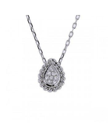 Collier multi-pierres forme goutte diamants en or blanc