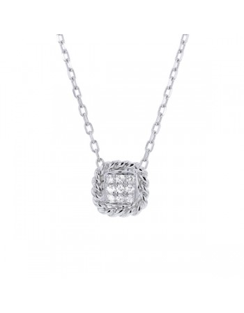 Collier multi-pierres forme carré diamants en or blanc