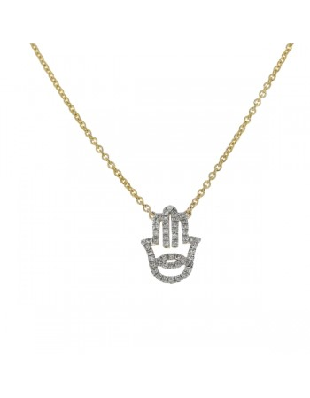 Fatima hand shape diamonds pave set necklace in 9 K gold