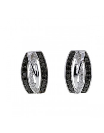 Pave set black and white diamond crossover strands earrings in 9 K gold