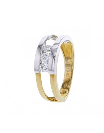 Bague trilogie bicolore diamants en or jaune