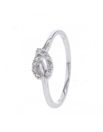 Bague noeud avec diamants en or blanc