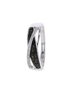 Bague pavés de diamants noirs et blancs en or blanc