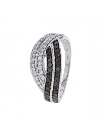 Pave set plait shape ring with black and white diamonds in 9 K gold