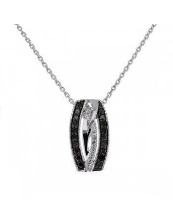 Multi-strand crossover pave set black and white diamond pendant in 9 K gold