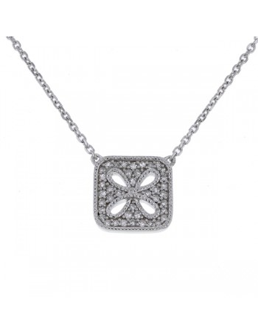 Amulet square shape pave set vintage style diamond necklace in 18 K gold