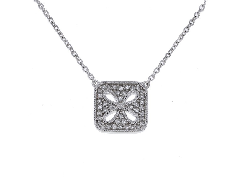 Collier carré pavé de diamants en or blanc