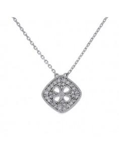 Collier carré pavé de diamants en or blanc