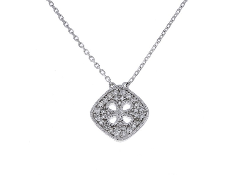 Amulet square shape pave set vintage style diamond necklace in 18 K gold