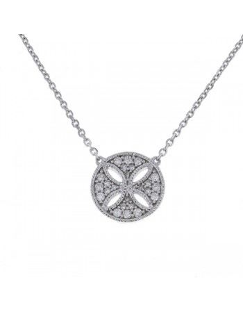 Amulet round shape pave set vintage style diamond necklace in 18 K gold