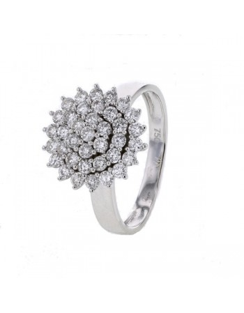 Bague chou multipierre diamants en or blanc