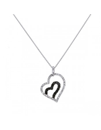 Open heart pave set black and white    Maïalen