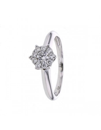 Bague solitaire multi-pierres diamants en or blanc