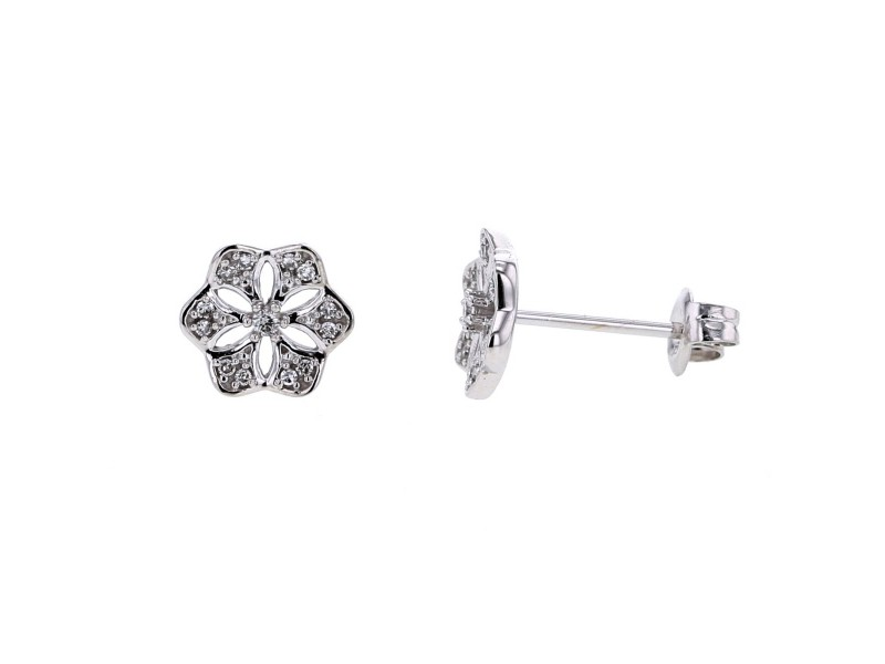 Flower shape diamond earrings in 18 K gold
